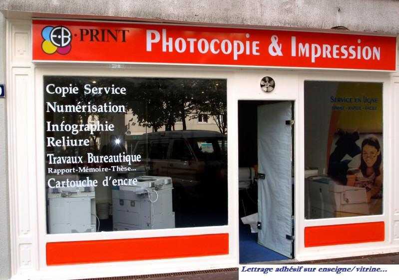 Film adhesif & lettrage ou logos sur vitrine-véhicule-enseigne